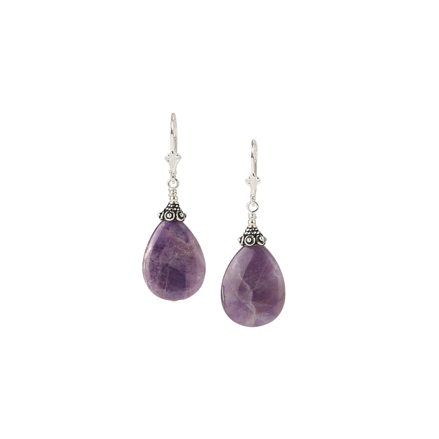 Classic Drop Chevron Amethyst Earrings - Trezana