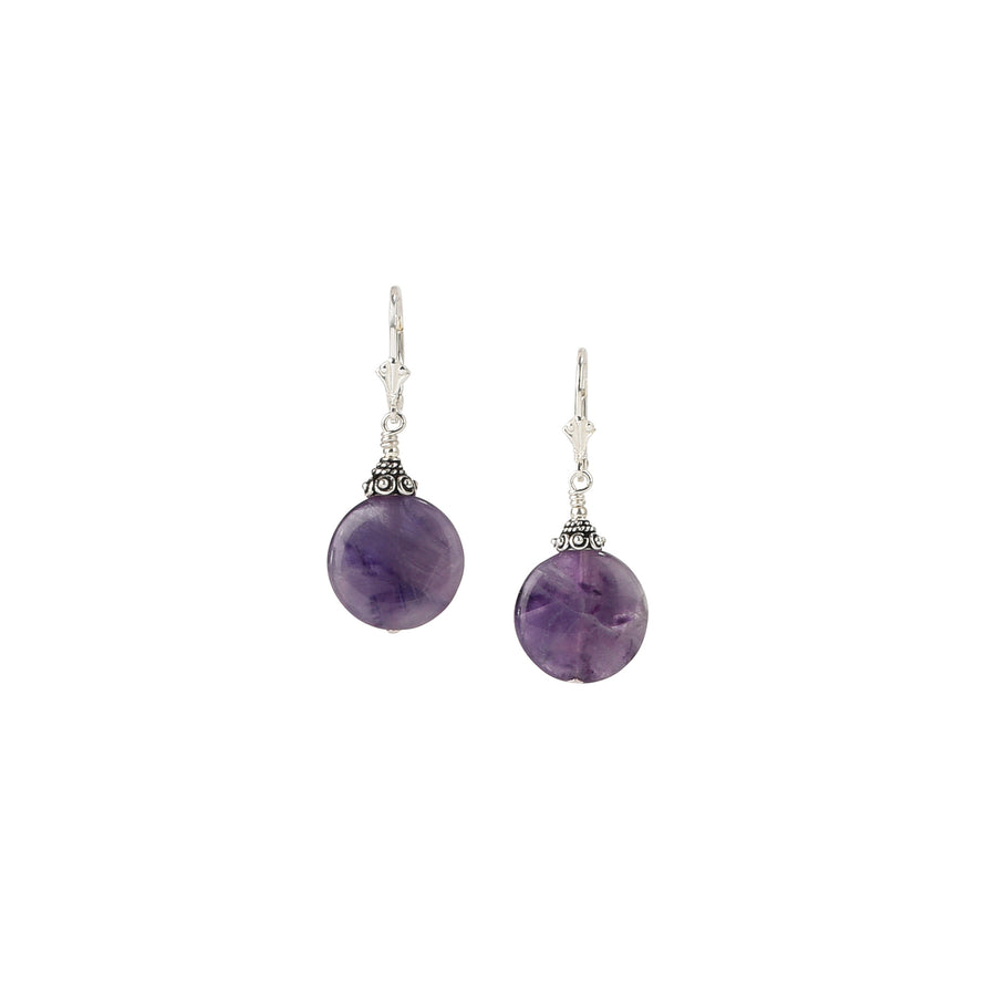 Coin Chevron Amethyst Earrings - Trezana