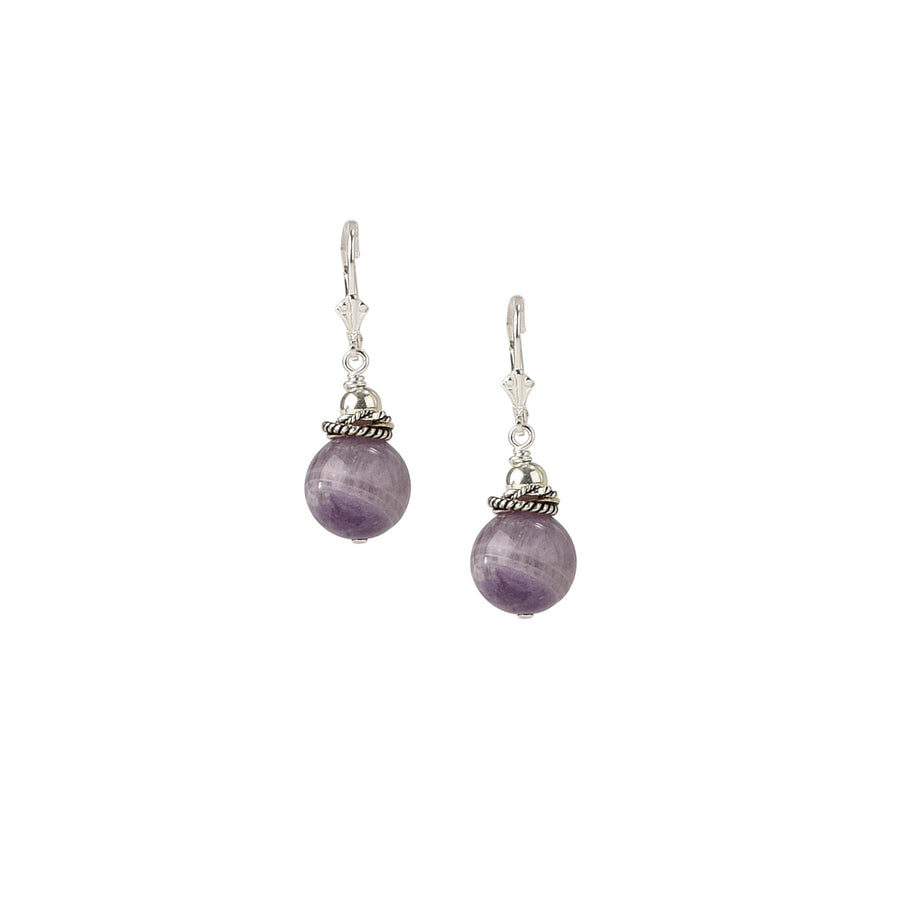 See You Round Again Chevron Amethyst Earrings - Trezana