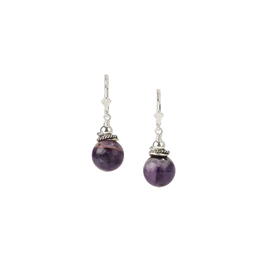 See You Round Chevron Amethyst Earrings - Trezana