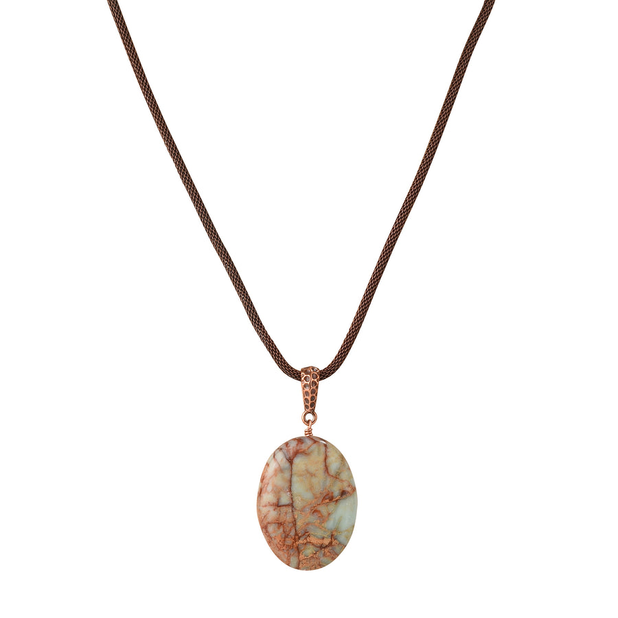 Oval The Red Moon Impression Jasper Necklace - Trezana