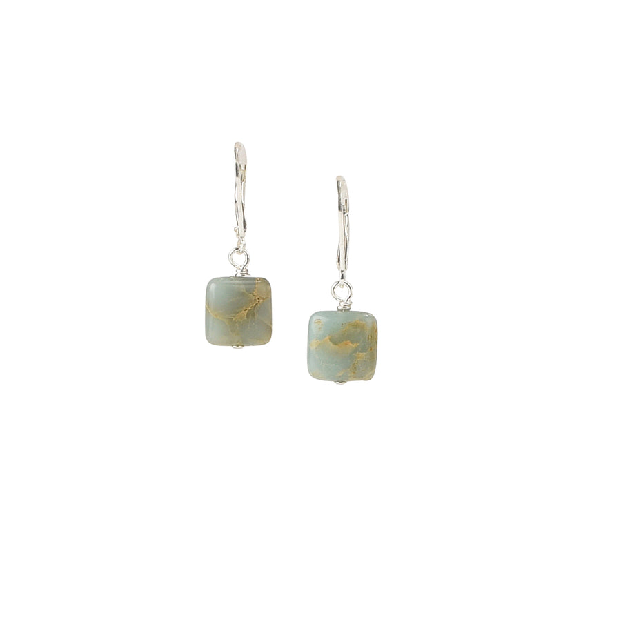 Petite Square Impression Jasper Earrings - Trezana