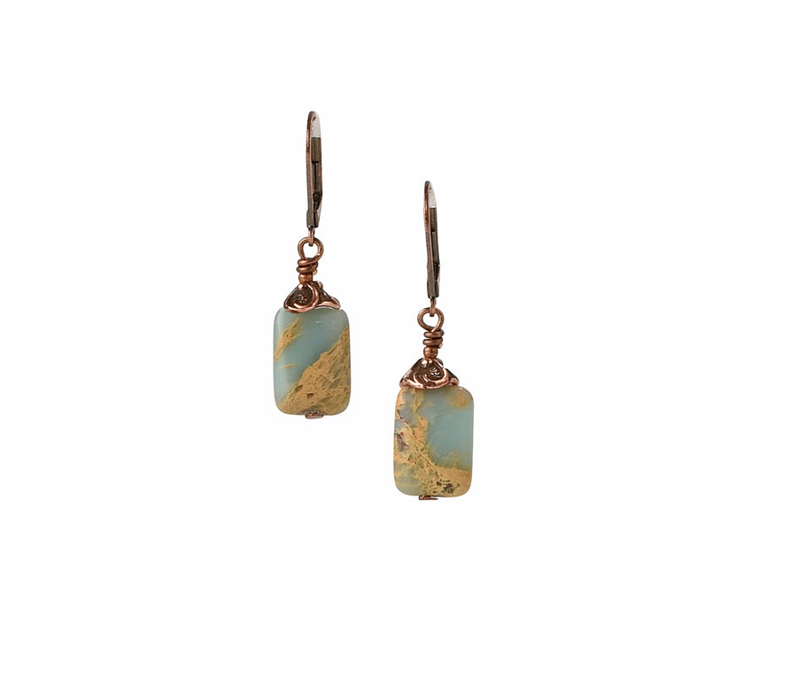 Rustic Picture Perfect Impression Jasper Earrings - Trezana