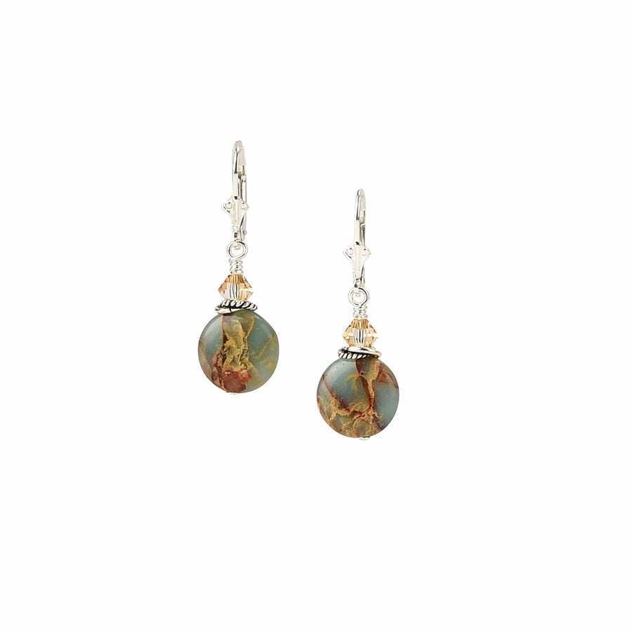 Travel The Globe Impression Jasper Earrings - Trezana