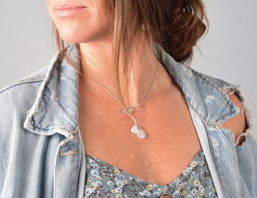 Twin Drops Moonstone Necklace