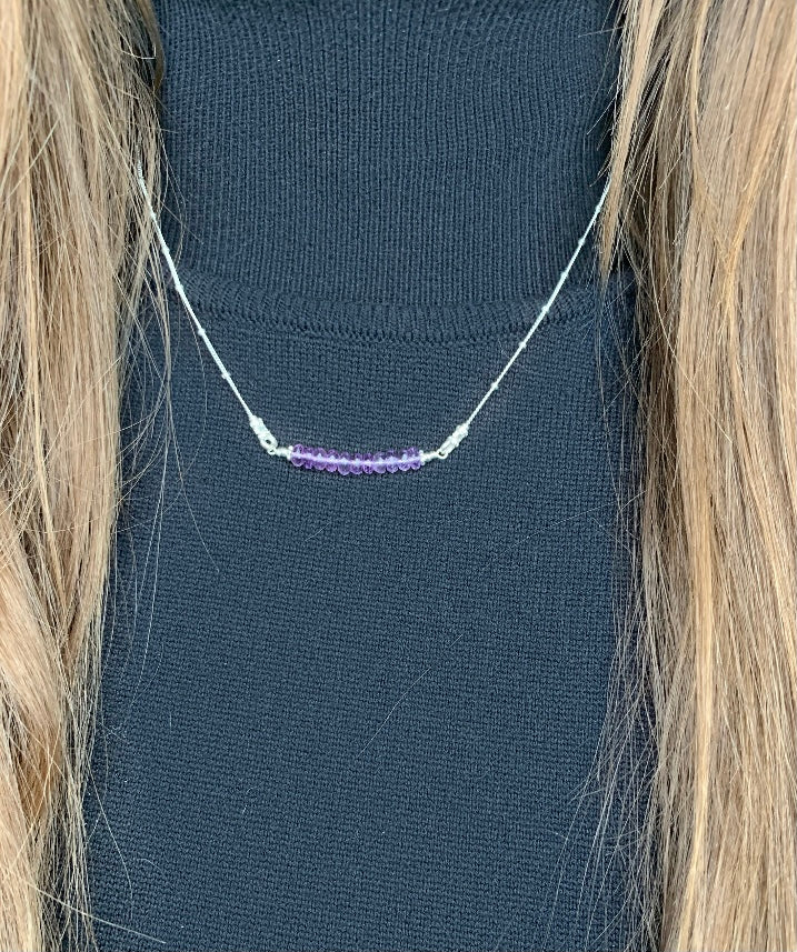 I Miss Bars Silver Amethyst Necklace