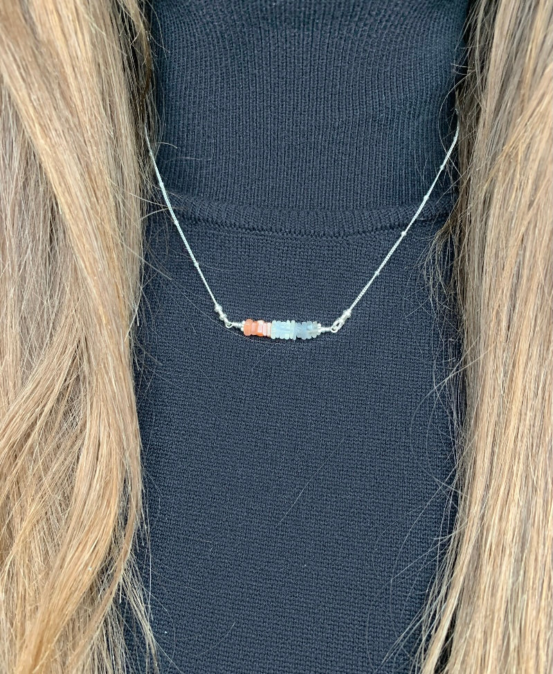 I Miss Bars Silver Gradient Moonstone Necklace