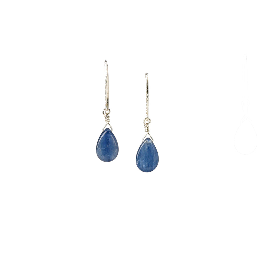Dainty Drop V Back Kyanite Earrings - Trezana