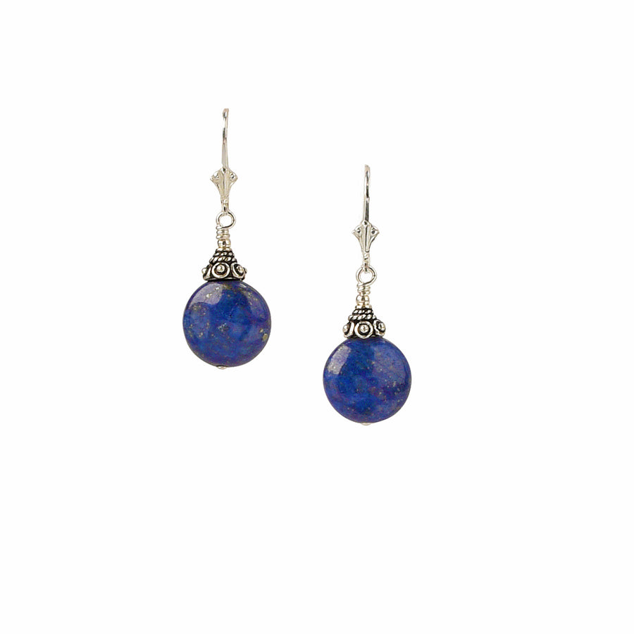 Coin Lapis Earrings - Trezana