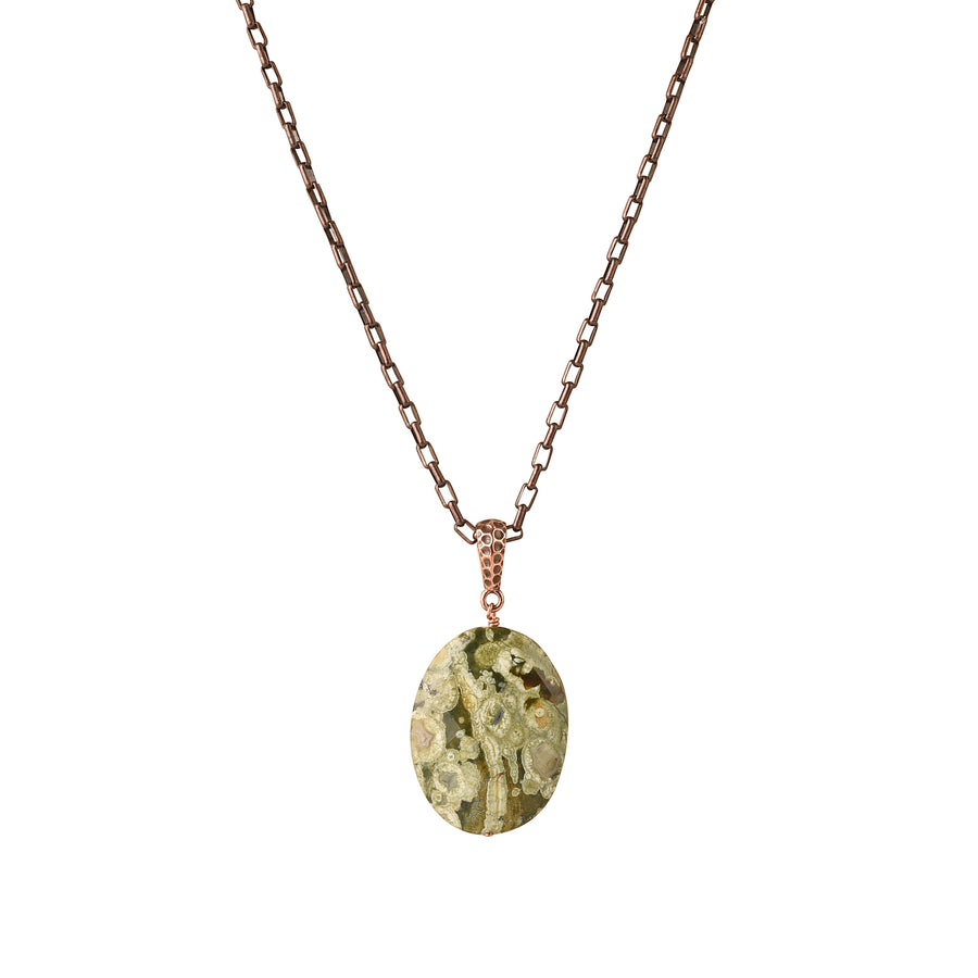 Oval The Moon Rainforest Jasper Necklace - Trezana