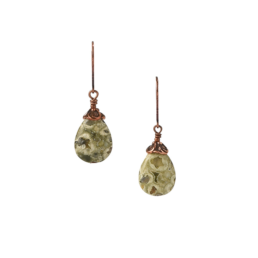 Classic Drop Rainforest Jasper Earrings - Trezana