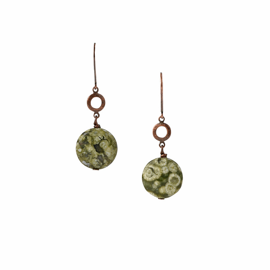 Chained To Copper Rainforest Jasper Earrings - Trezana