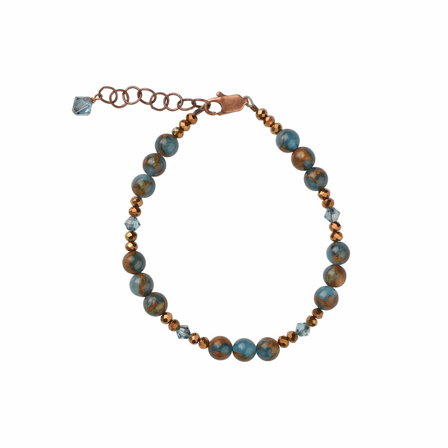 Simple Sparkles Copper Teal Blue Quartz Bracelet - Trezana