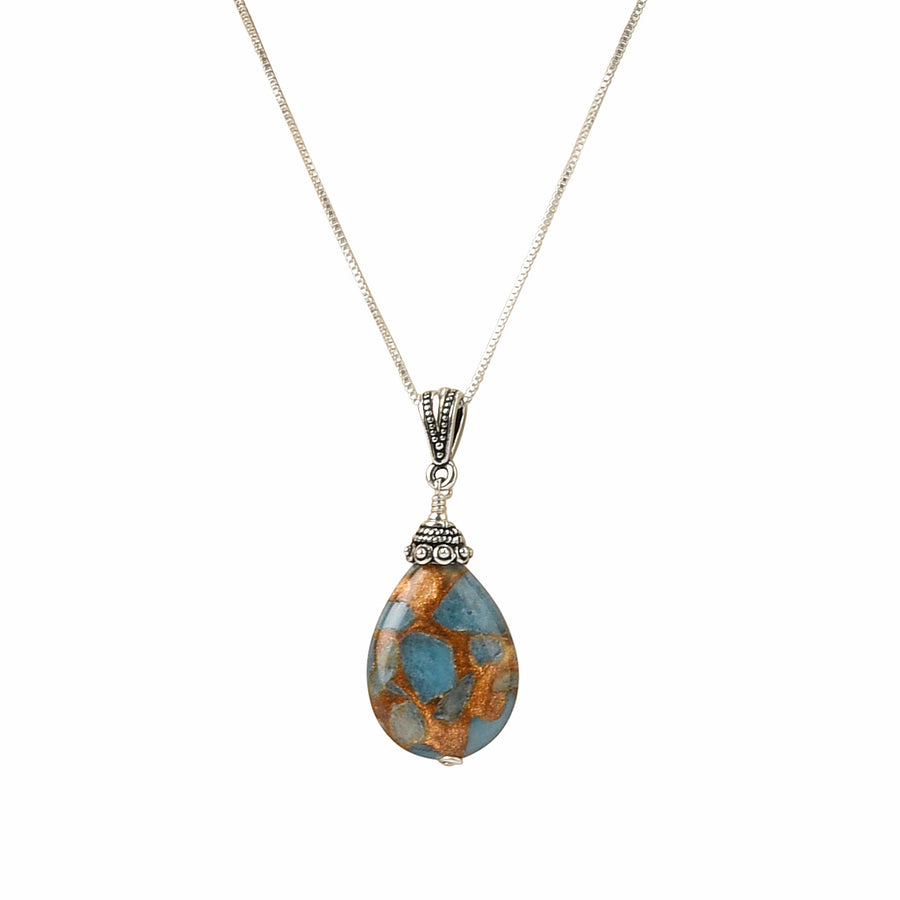 Classic Drop Teal Blue Quartz Necklace - Trezana
