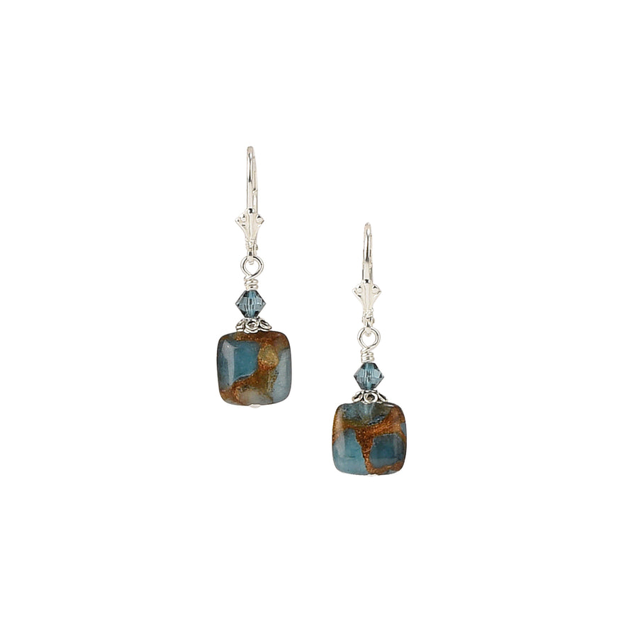 Squared Away Sparkly Teal Blue Quartz Earrings - Trezana