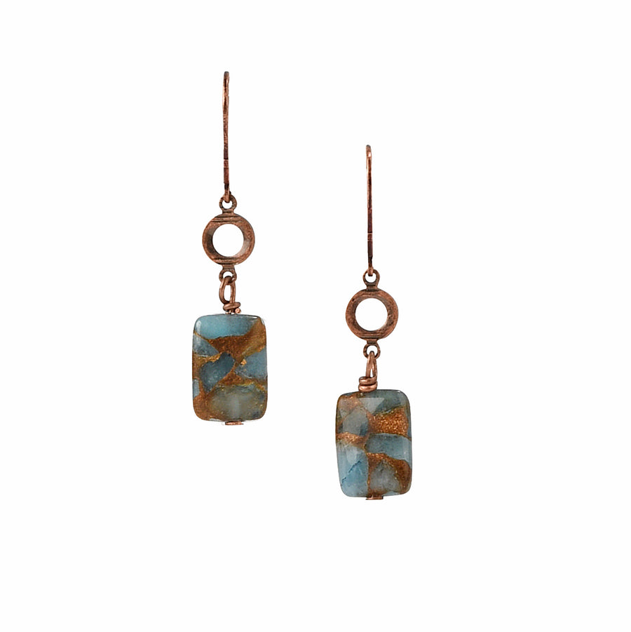 Chained To Copper Teal Blue Quartz Earrings - Trezana
