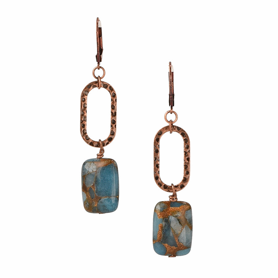 Feeling Link-y Teal Blue Quartz Earrings - Trezana