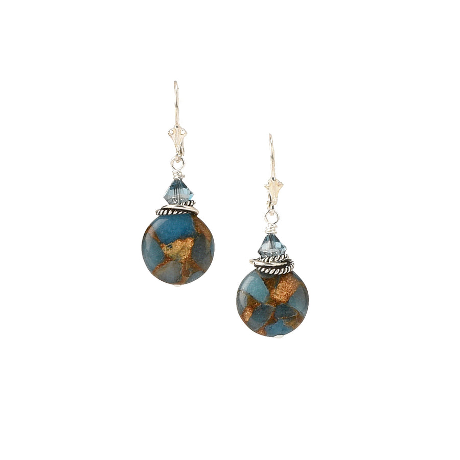 Travel The Globe Teal Blue Quartz Earrings - Trezana
