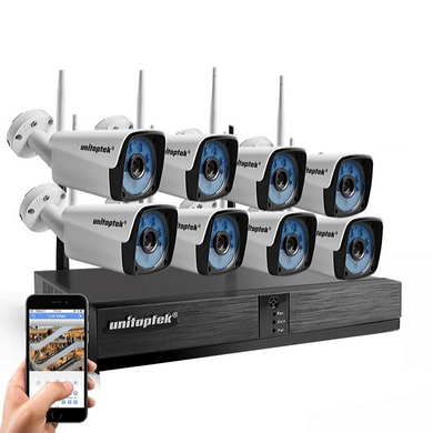 Wireless 8 Ip Cameras with NVR Kit Wifi 8 Camera System Android/iOS Mobile Remote View Anywhere Anytime