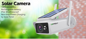 Wireless Cctv Camera with Solar Power Rechargeable Battery 1080P Wide View Outdoor Security Camera