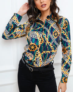 Chain Print Long Sleeve Shirt
