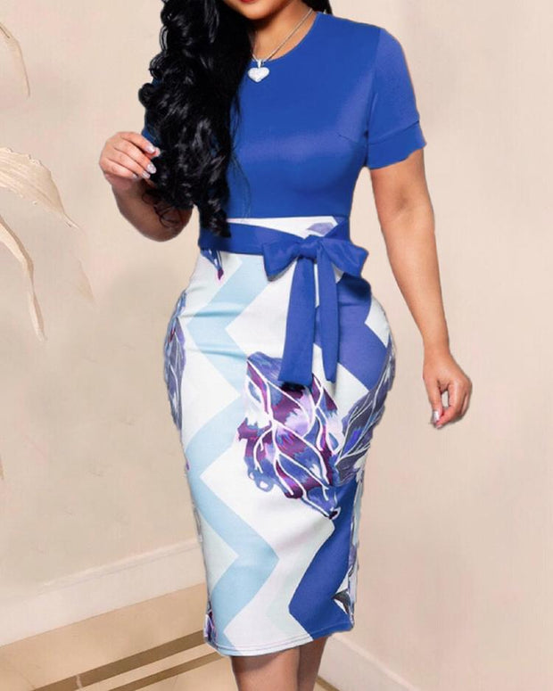 Contrast Color Abstract Print Midi Dress
