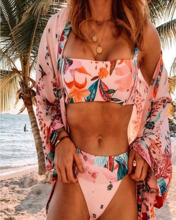 Tropical Print Thin Strap Bikini Sets With Cover Up