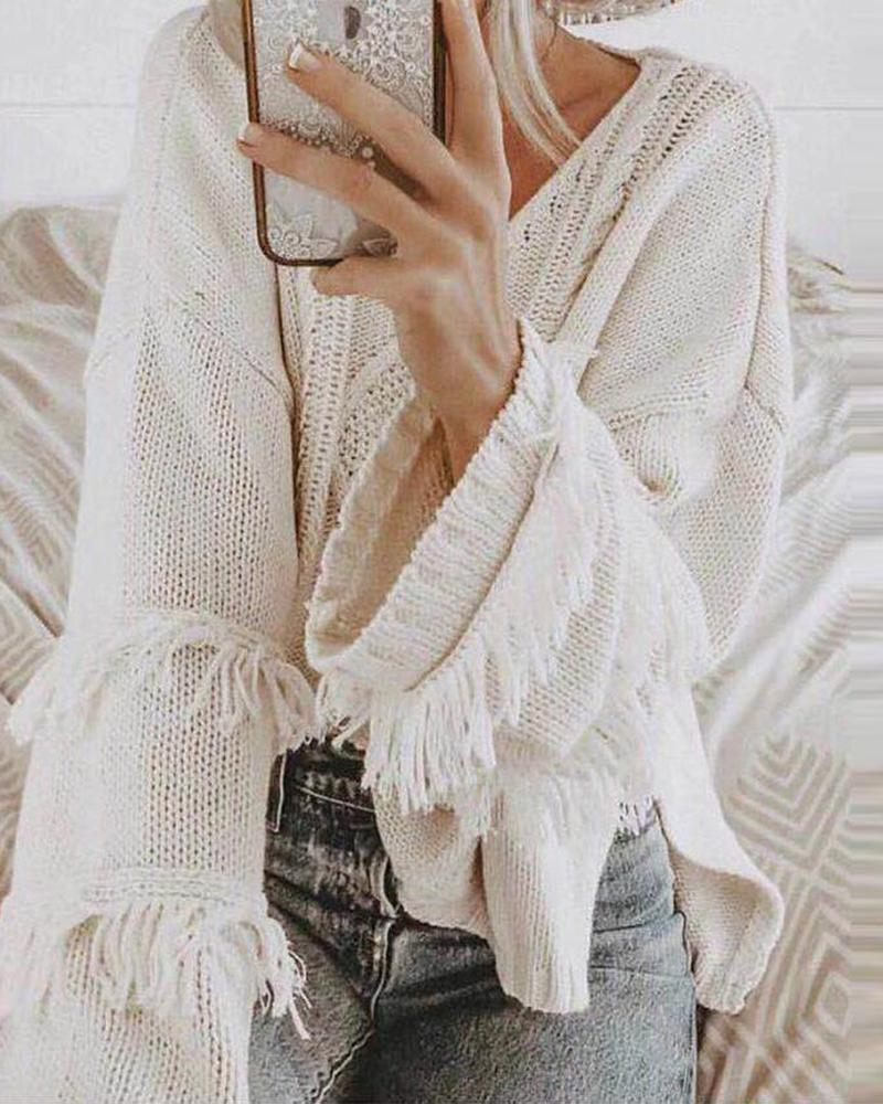 Solid Color Loose Knitted Sweater