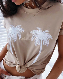 Palm Print Short Sleeve T-Shirt