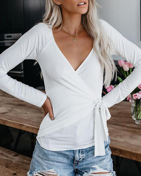 V Neck Front Knot Long Sleeve Tops