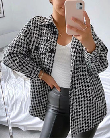 Houndstooth Long Sleeve Loose Coat