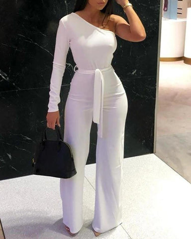 One Shoulder Solid Wide Leg Jumpsuit