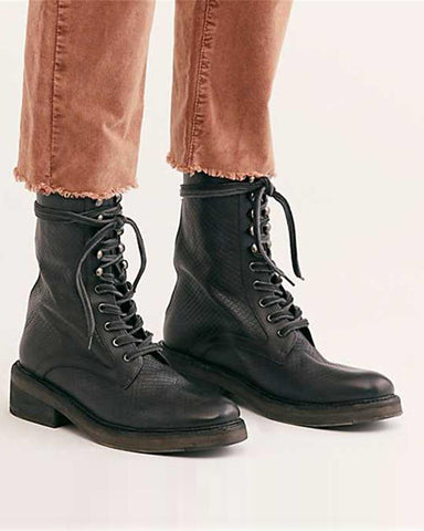 Solid Faux Leather Lace-Up Boots