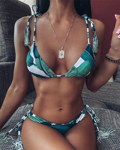 Palm Leaf Print Tied Detail Tassel Design Padded Bikini Set