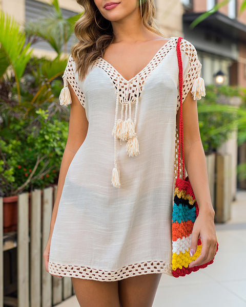 Crochet Lace Insert Tassel Slit Cover Up Dress