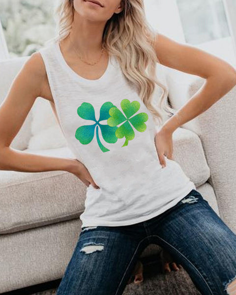 Casual Print Four-leaf Clover Tank Top