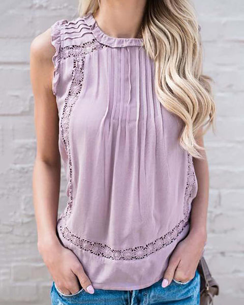 Trendy Ruffled Crochet Button Design Tank Top