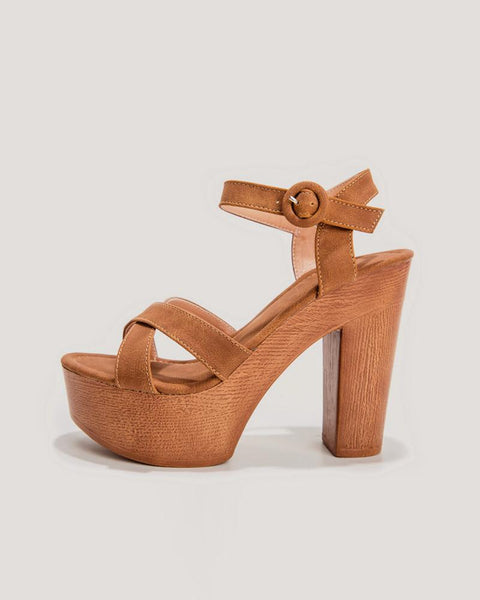 Cross Design One Buckle Open Toe Block Heel Sandals