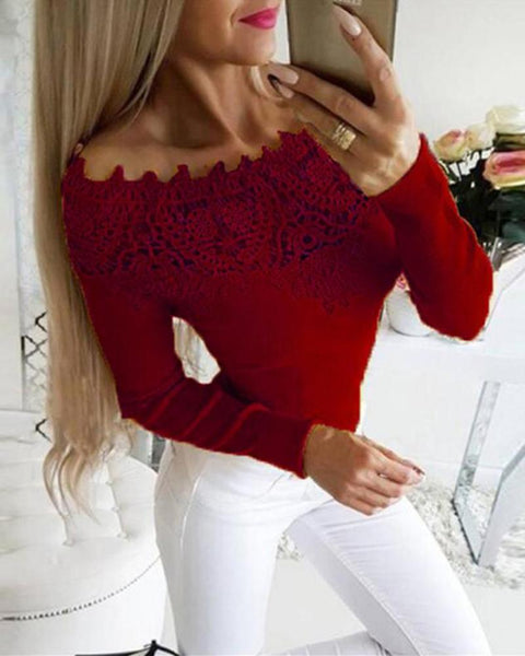 Off Shoulder Lace Trim Top