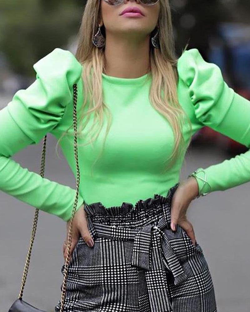 Solid Round Neck Puff Sleeve Top