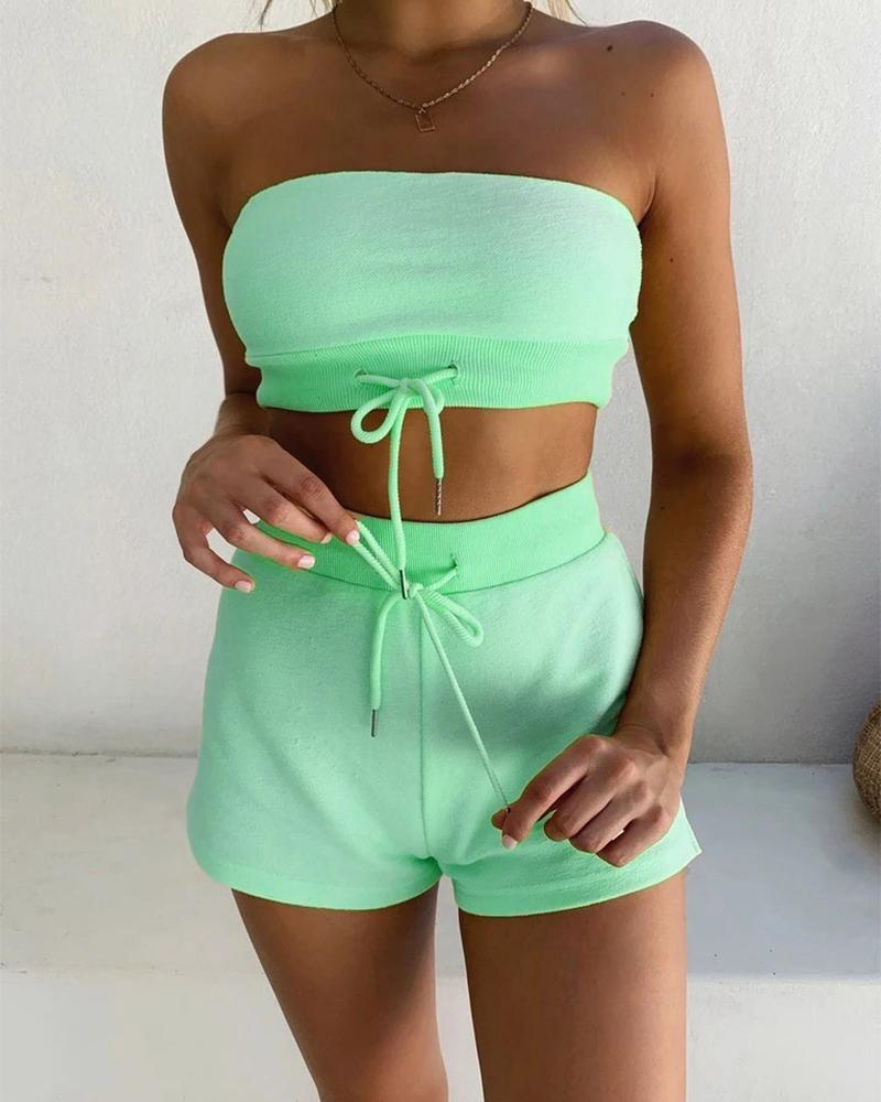 Wrapped Chest Shorts Two-piece Sets