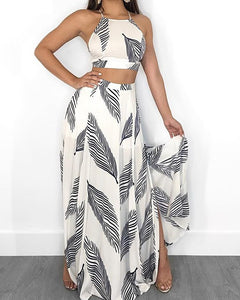 Leaf Print Backless Cami Top & Split Maxi Skirt Set