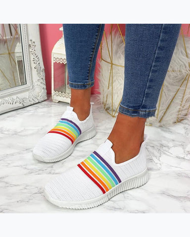 Colorblock Round Toes Flat Slip-on