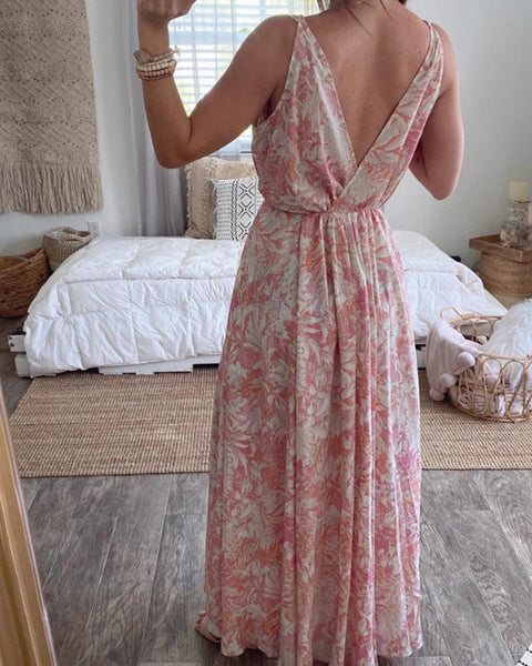 Floral Print Backelss V Neck Maxi Dress