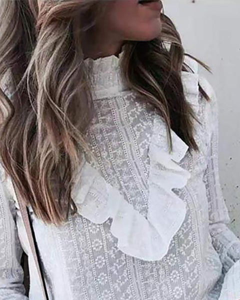 Floral Embroidery Ruffles Bell Sleeve Top