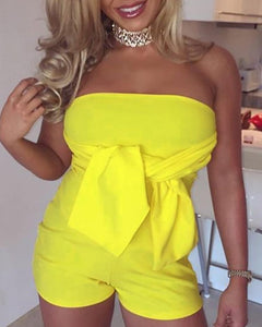 Solid Strapless Tied Front Open Back Romper