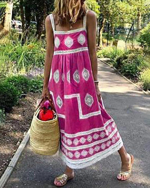 Geometry Print Colorblock Square Neck Maxi Dress