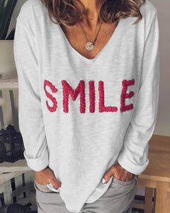 Print Long Sleeve Loose T-shirts