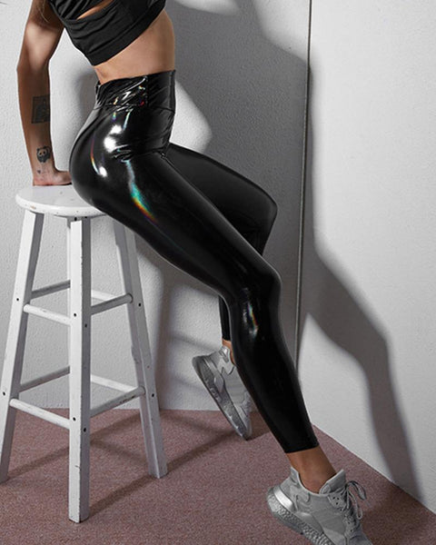 Patent Leather Skinny High Waist Pants