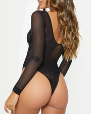 Lace Mesh Patchwork Long Sleeve Bodysuit